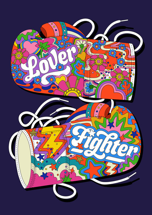 LOVER & FIGHTER BOXING GLOVES ILLUSTRATION