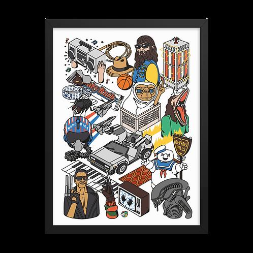 Framed 80s films – isometric illustration