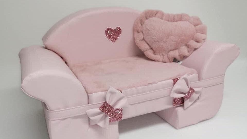 Canapé en simili cuir rose Ehgia