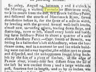 """Sideways . . . Thro' the Air"" - The Tornado of 1773"