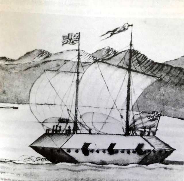 "Image of a British floating battery.  From ""A North View of Crown Point""  by Thomas Davies, c. 1759 (Library of Congress)"