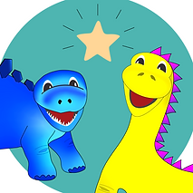 A blue stegsaurus and yellow brontosaurus dinosaur communicating with each other