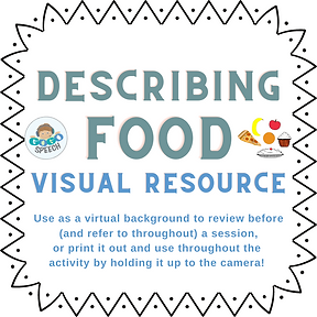 Describing Food Visual Resource by GoGo Speech - Use as a virtual background to review before (and refer to throughout) a session, or print it out and use throughout the activity by holding it up to the camera