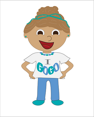Illustrated girl wearing a white t-shirt that says I GoGo