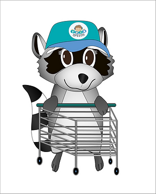 Illustrated raccoon pushing a shopping cart