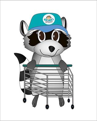 Illustrated raccoon pushing a shopping cart