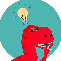 A red Tyrannosaurus Rex thinking with a lightbulb above his head