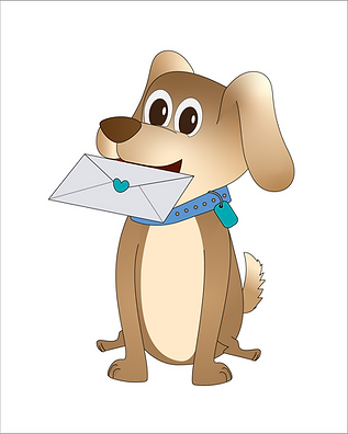 Illustrated dog holding an envelope in its mouth