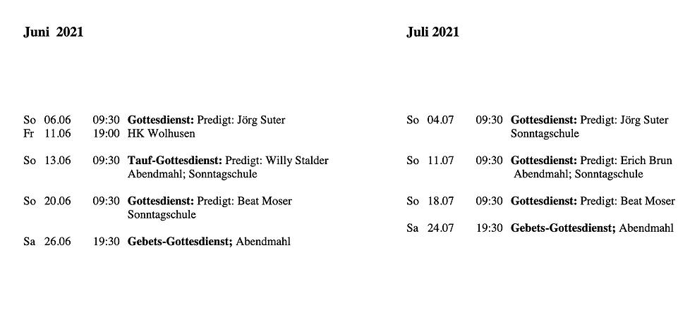 Agenda Freikirche Entlebuch Juni Juli 20
