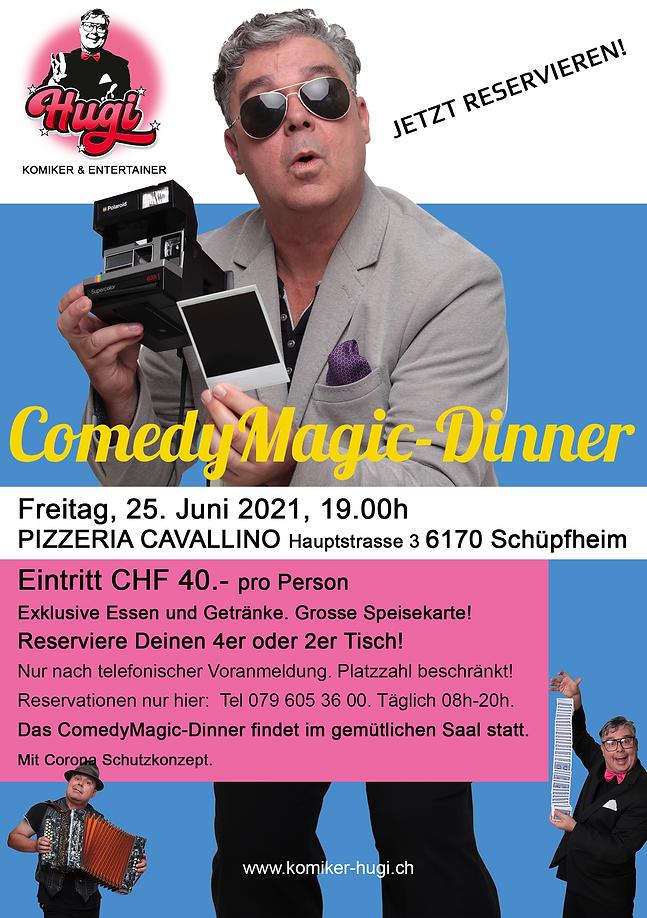 Flyer Hugi ComedyMagic-Dinner 25.06.2021