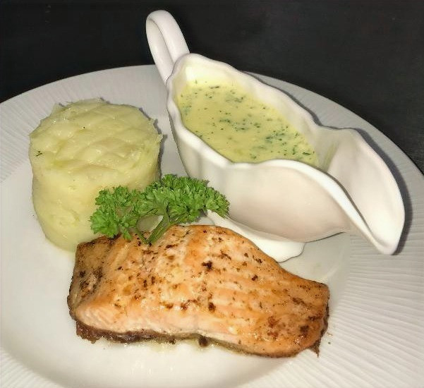 Salmon, mash Tower with Parsley Sauce
