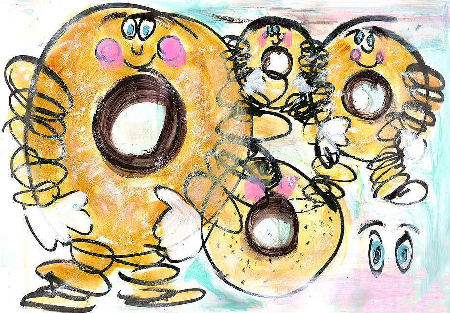 expressive drawing of seafront doughnut man
