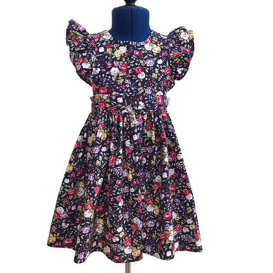 • w i l l o w • navy floral flutter sleeve pinafore dress