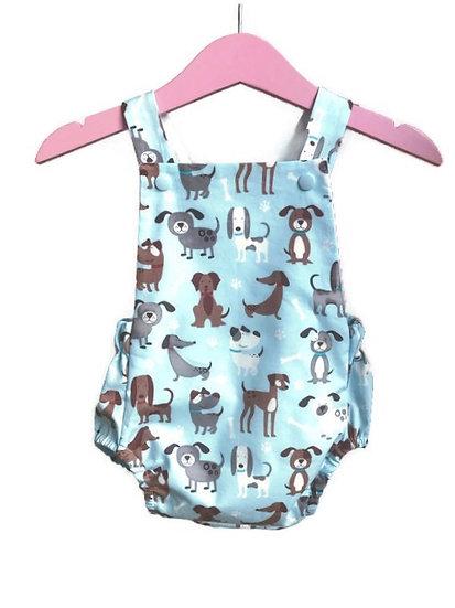 • s u n n y •  baby romper in blue puppies