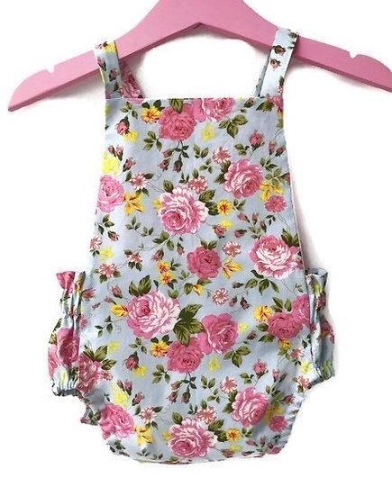 •  d a i s y •  mint green & pink floral tie back romper