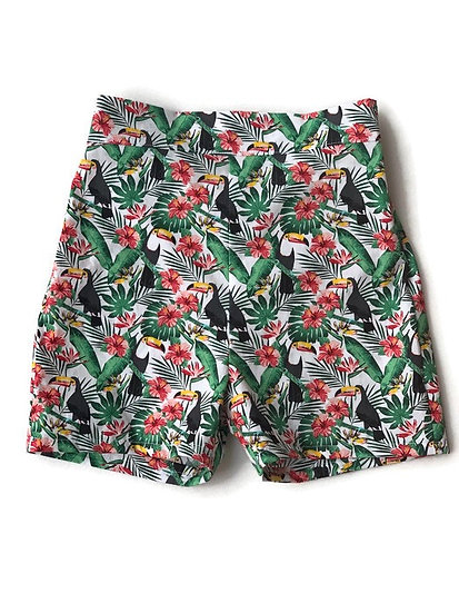 • b a i l e y •  unisex summer shorts | toucans | boy shorts | girl shorts