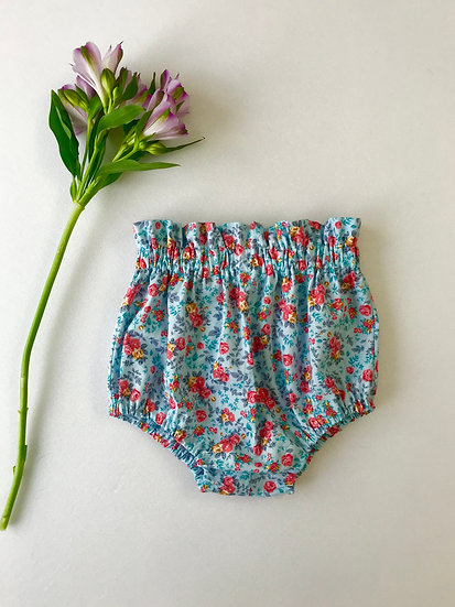 Baby Bloomers | • n e l l i e • vintage style high waisted blue floral bloomers