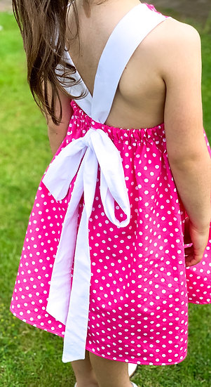 • m a t i l d a •  bow tie back summer dress | pink polka dots