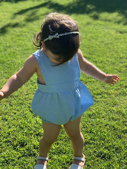 • m a b e l • pinafore romper in broderie anglaise blue/white
