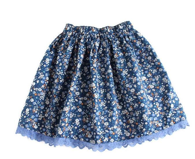 • l u n a •  Blue Floral Skirt with Lace Trim
