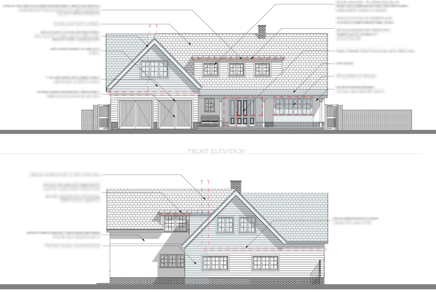 Front and Side Annotated Elevations