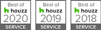 Logos showing Houzz Awards for 2018, 2019 and 2020
