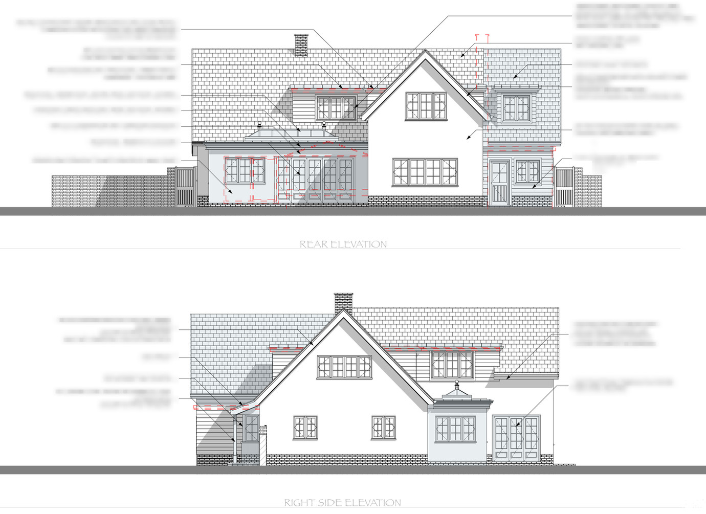 Rear and Side Annotated Elevations
