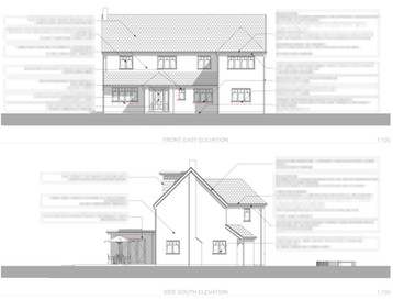Back to Front's Annotated Front and Side Elevations