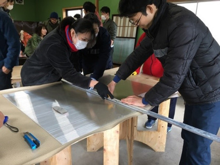 北栄町の妻波おためし住宅で行われた断熱ワークショップ