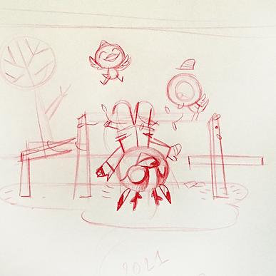schetsen Kerstkaart school
