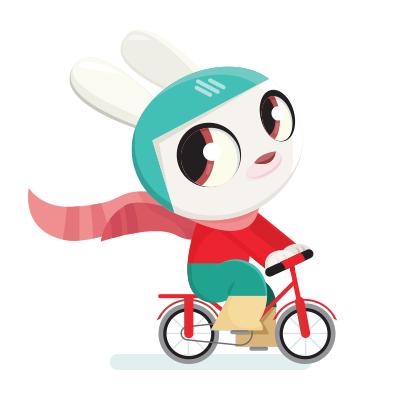Konijn op een fiets