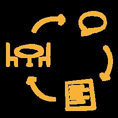 Janach Mediation - Icon Systemische Supervision Ablauf - Tisch mit zwei Stühlen - Sprechblase - Dokument