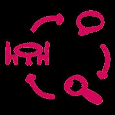 Janach Mediation - Icon Coaching-Ablauf - Tisch mit zwei Stühlen - Sprechblase - Lupe