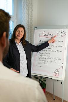 Janach Mediation - Mag Gudrun Janach - Coaching - bei der Kundenarbeit mit Flipchart