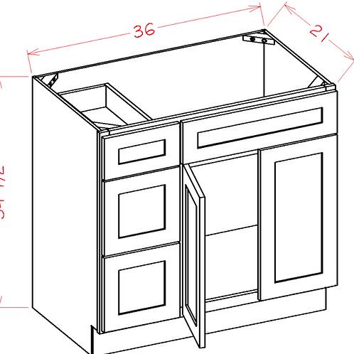 Birch Shaker Vanity ALL-IN-ONE Cabinet V3621D L/R