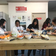 Making our dinner at youth hostel