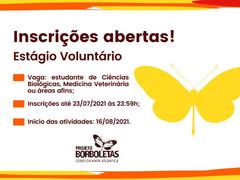PROJETO BORBOLETAS ABRE VAGAS DE ESTÁGIO VOLUNTÁRIO 2021/2