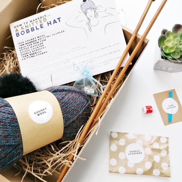 Knitted bobble hat kit