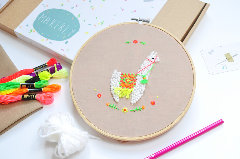 llama embroidery monthly craft kit