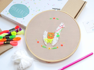 January's craft kit - Make your own Neon llama embroidery!