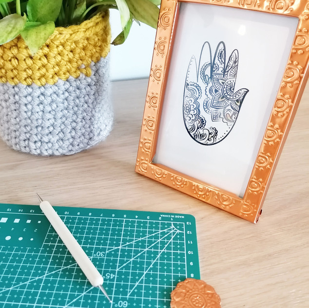 Copper embossed photo frame