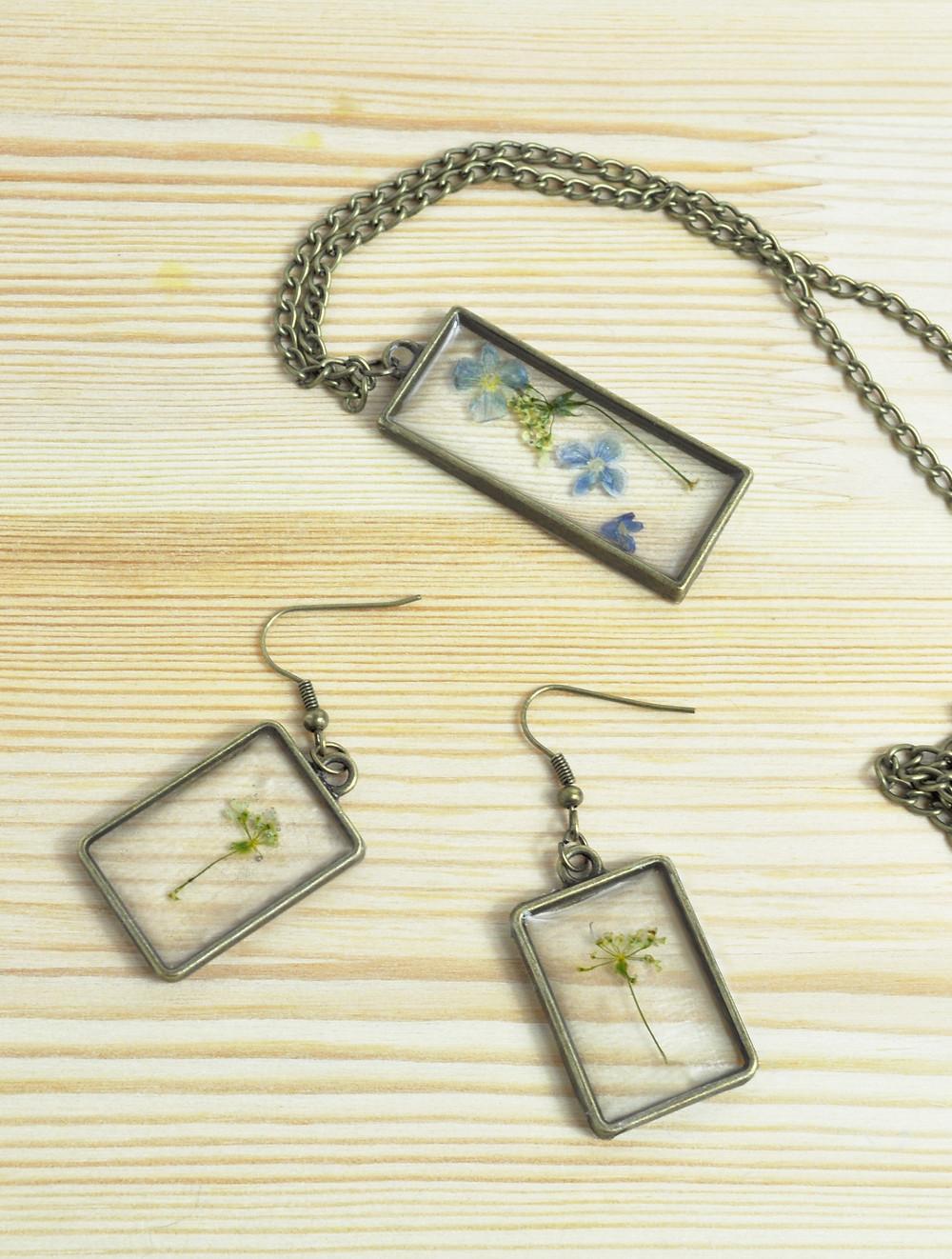 Resin pressed flower jewellery