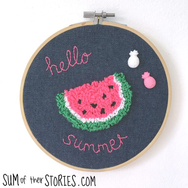 Needle punch embroidery kit watermelon