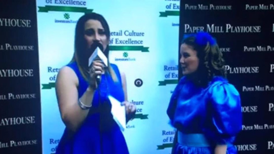 Mollie being interviewed by Natalie Weiss at Paper Mill Playhouse's Rising Star Awards for her Best Leading Actress nomination