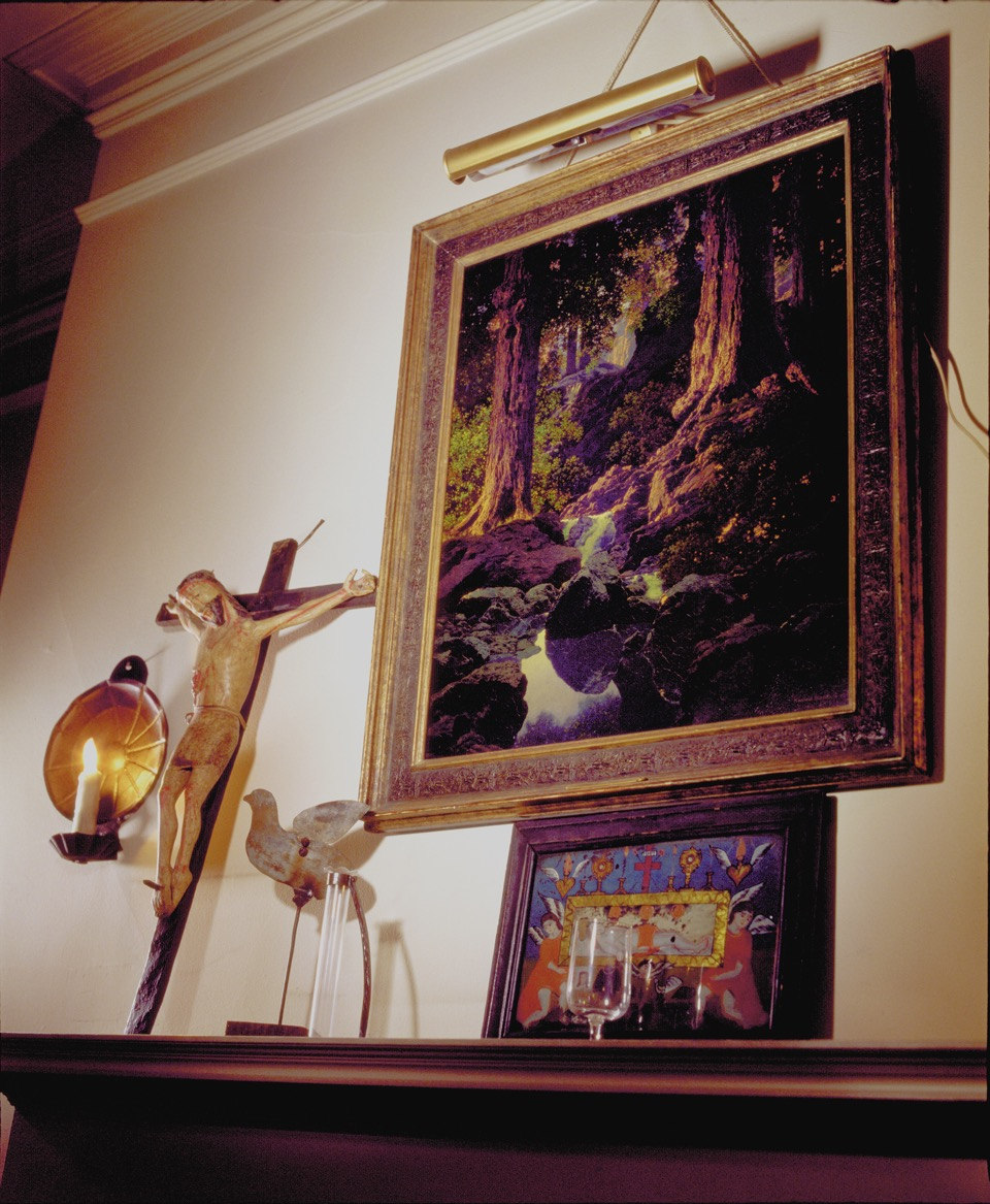 Andy Warhol's Mexican Crucifix with Maxfield Parrish Painting