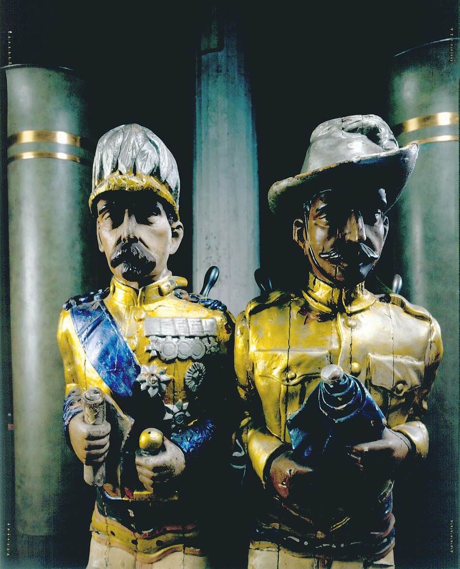 2 Fairground Carved Figures in Andy Warhol's Warehouse