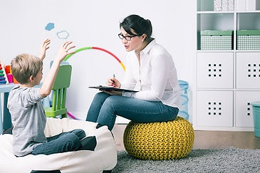 Woman counseling a child