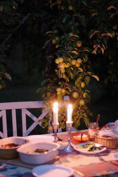 dinner under the apple trees in Finnish countryside. photo Saara Vuola