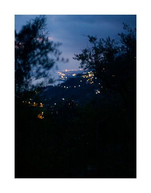view from the hill to the sea at night, Liguria, Italy. photo Saara Vuola