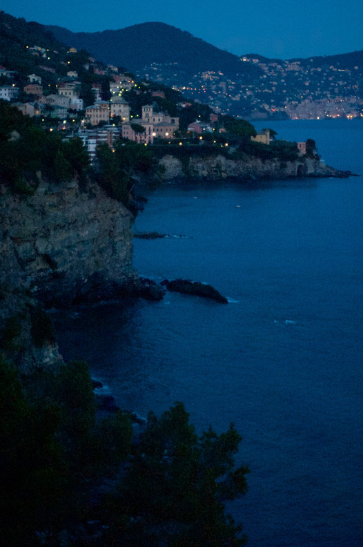 coast landscape Sori, Liguria, Italy at night. photo Saara Vuola